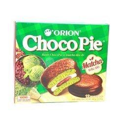 Ciastka Choco-pie o smaku matcha ORION 360g   Banh ORION Choco-Pie Vi  MATCHA Dau Do 360gx8szt/krt